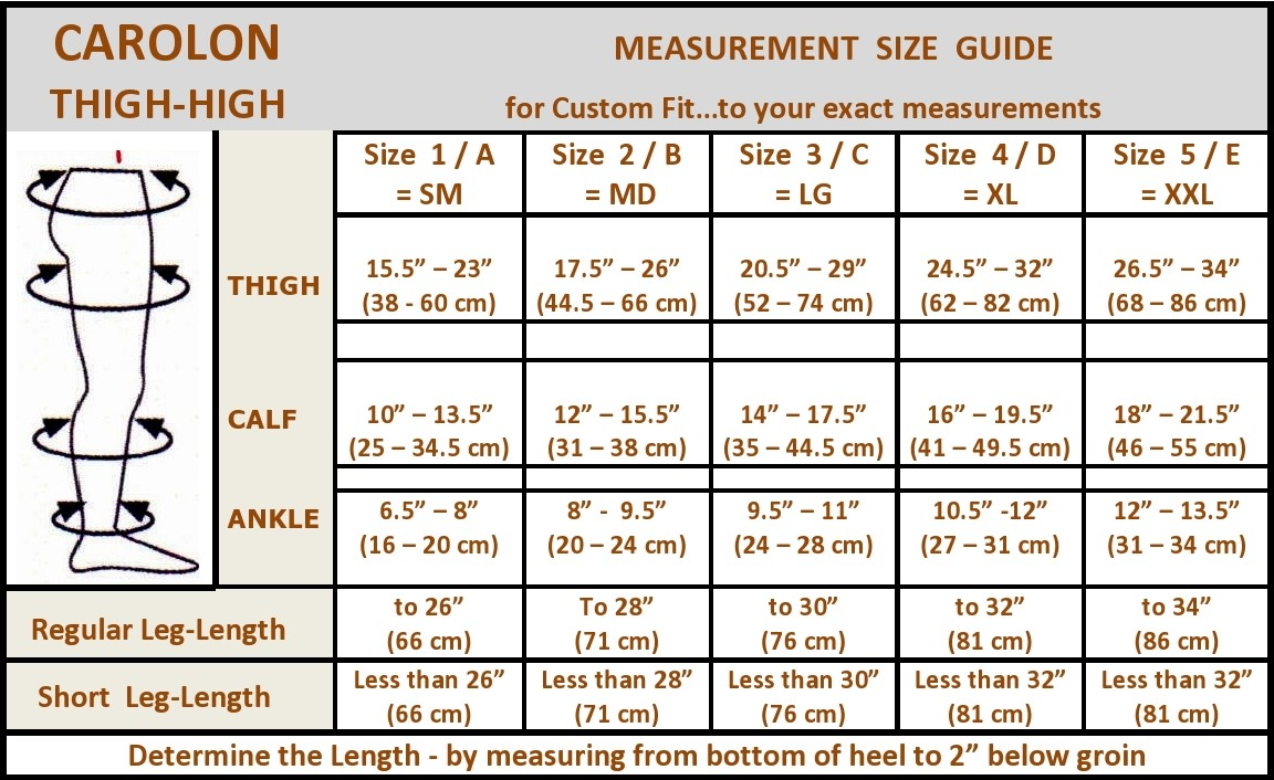 carolon thigh high size chart with leg length