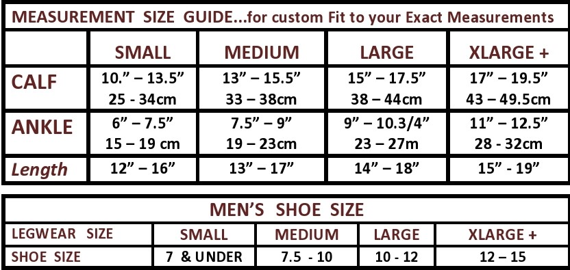 The Natural mens knee sock size chart with lengths