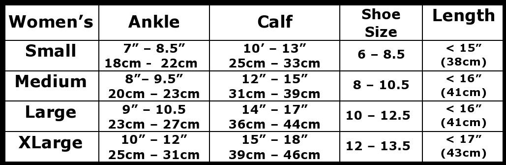 womens 8-15 mmHg sock size chart