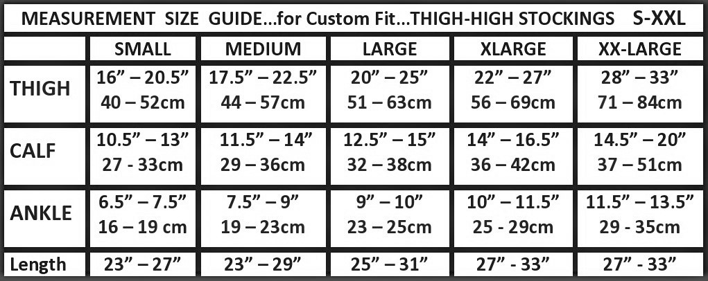 thigh high opaque size chart image