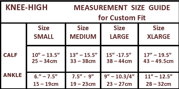 knee high size chart