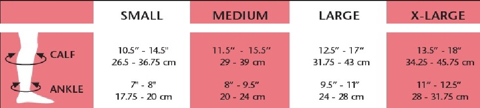 opaque knee high s-xl size chart