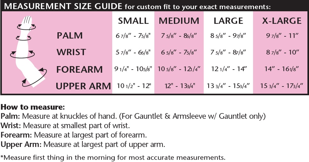 lymphedema arm sleeve size chart image
