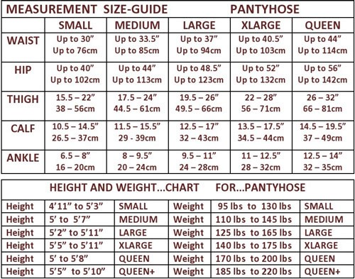 opaque pantyhose size chart image
