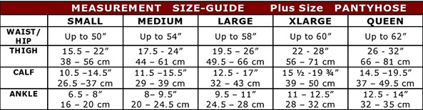 the natural sheer plus size pantyhose size chart