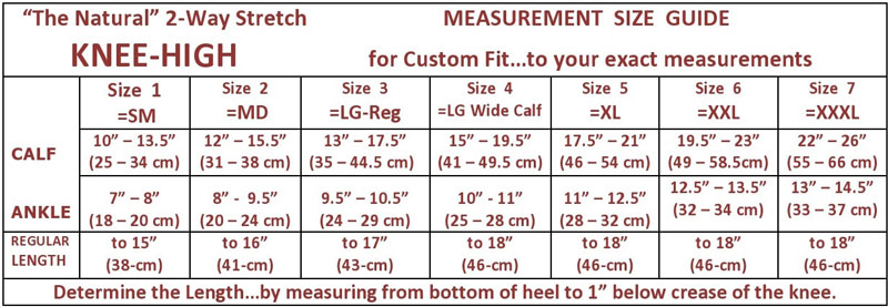 the natural knee high stocking size chart