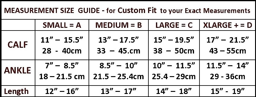 the natural shape to fit knee high size chart