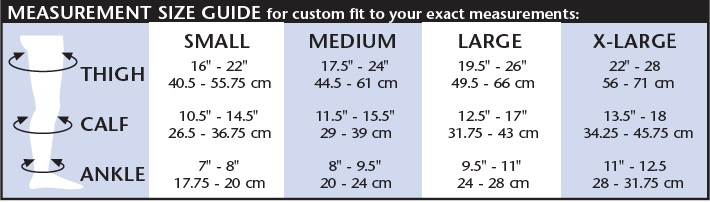 womens thigh high size chart