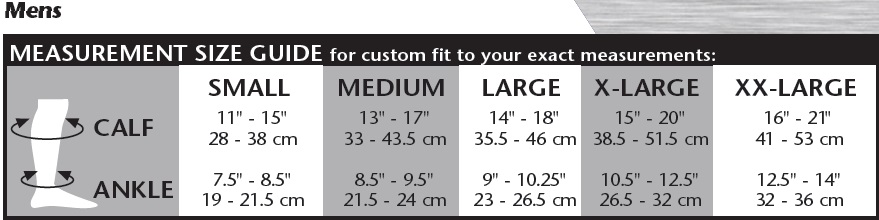 the natural opaque knee high size chart